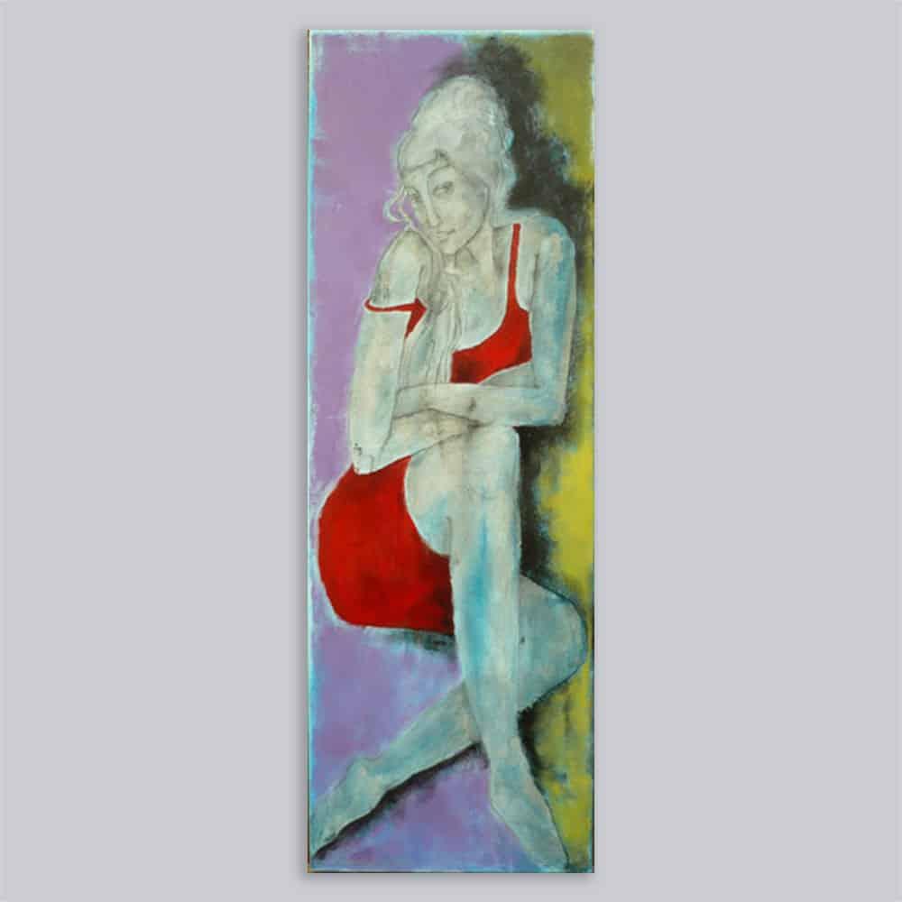 Schilderij Portret rode jurk