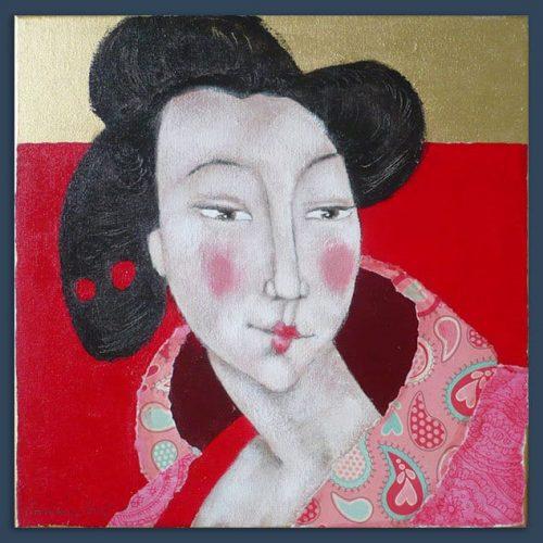 Schilderij Japanse in gouden achtergrond