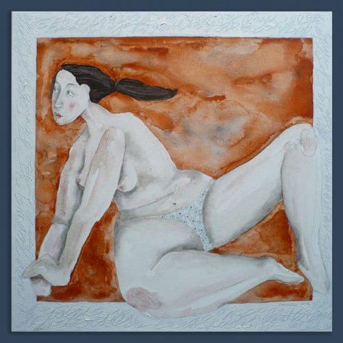 Schilderij Naakt in wit kader