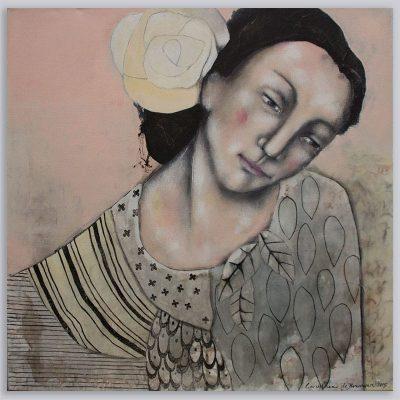 Schilderij Roze zonder titel